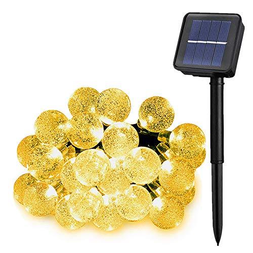 Solarbetriebene Garten Lichterkette 7m mit 50 Kristallkugel LED 8 Modi Außenlichterkette...