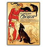 PotteLove Metal Sign Plaque Clinique Cheron Cats Dogs French Veterinary Vet Vintage