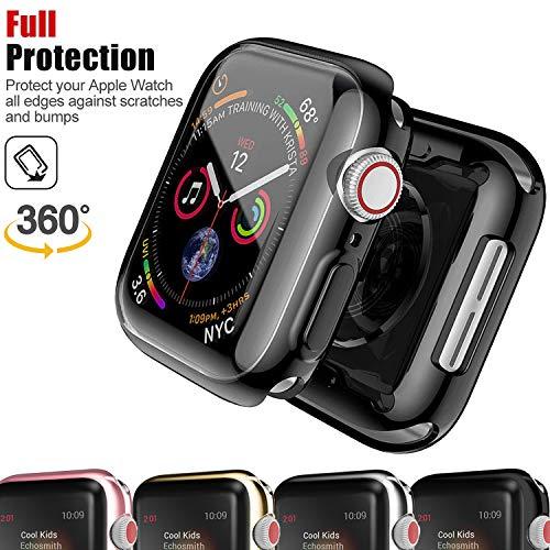 Chok Idea Coque Compatible with Apple Watch 4 44mm,360° Full Couverture Protecteur Bumper Entourer Sweatproof TPU Case Replacement for iWatch Apple Watch Series 4,Black