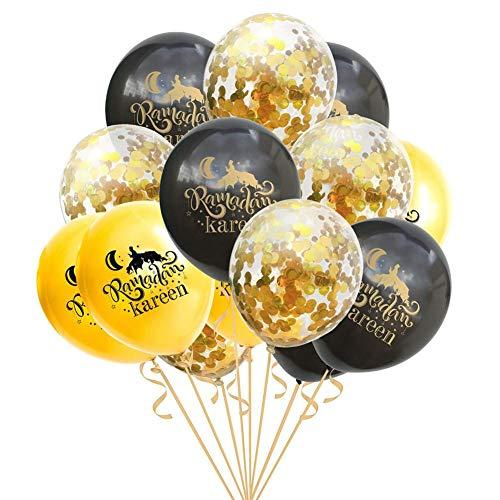 Gereton 15 Stück Ramadan-Ballons - 12-Zoll-Latexballon-Deko-Kombination aus Eid Mubarak (12 Zoll) HAJJ Mubarak Party Festival Venue-Dekoration