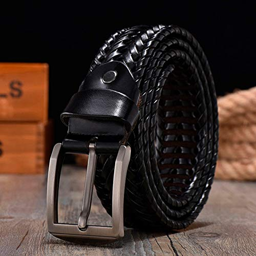 ZHYAODAI Correa De Cuero Trenzado para Los Hombres Cinturones De Cuero Auténtico Lujo 4.0Cm Ancho Tiras Tejidas A Mano Correa Diseñador,Bz201 Negro,115Cm.