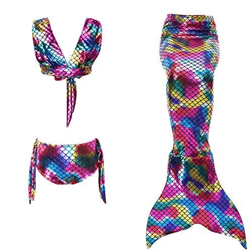 Le SSara Mädchen Cosplay Halfter Hals Bademode Meerjungfrau Shell Badeanzug 3pcs Bikini-Sets (110, J-magische farbe) (Set Cosplay)
