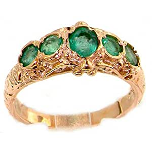 Luxury 9ct Rose Gold Emerald English Made Victorian Style Ring - Size K - Finger Sizes K to Z Available
