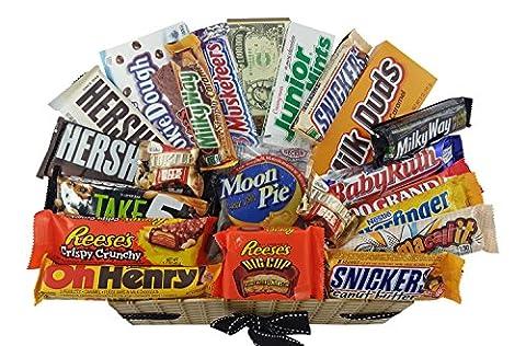 Grand Coffret Cadeau Américain Chocolat   Noël/Anniversaire   Boîte American Candy Bonbons  Assortiment inclut Hersheys, Reeses, M&M, Butterfinger   Boîte effet panier osier de 22 pièces