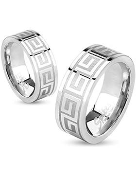 Paula & Fritz® Ring aus Edelstahl Chirurgenstahl 316L silber 6 oder 8mm breit Maze Pattern Line verfügbare Ringgrößen...