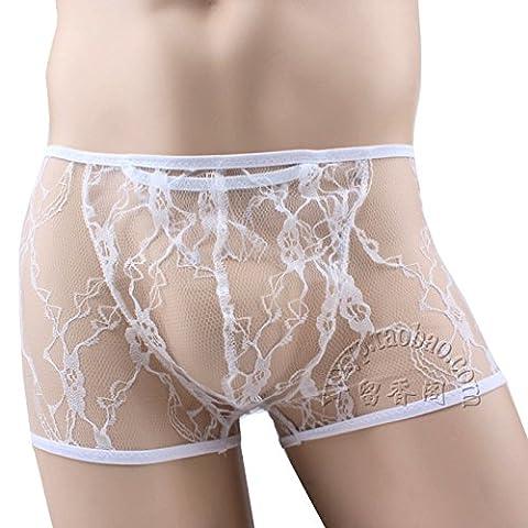 MQZM-mâle transparent sexy lingerie séduction dentelle respirante hommes boxer blanc,