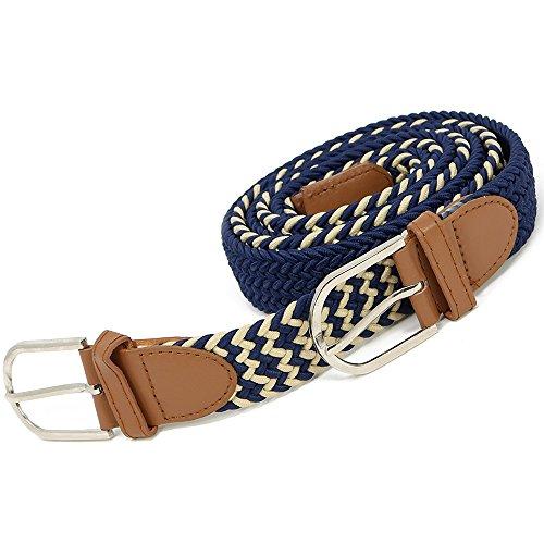 Wilhelm Sell® Cinturones elásticos Trenzados 2X para Hombres y Mujeres en Azul y Beige/Azul,Estiramiento Unisex Flexible: ¡Completa tu Atuendo de Todos los días!115cm (02 Piezas - 115cm Azul/Beige)