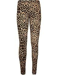 Nouvelles dames brunes imprimé léopard leggings femmes s'étendent peau sexy collants ajustement occasionnel de la taille de l'usure 36-42
