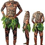 Herren Moana Maui Tattoo T Shirt / Hosen mit Bl?ttern Rock Halloween Adult Cosplay Kostüme (Large, Brown)