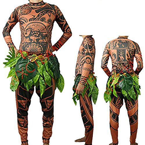 Herren Moana Maui Tattoo T Shirt / Hosen mit Bl?ttern Rock Halloween Adult Cosplay Kostüme (Medium, Brown)
