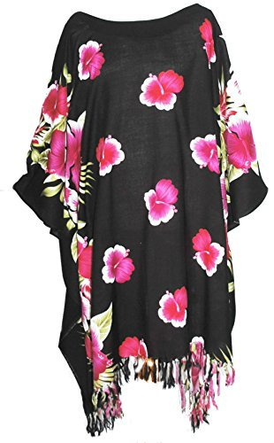 Kaftan Caftan Tunique motif Hawaienne Fleurs Taille Unique petite à grande Rose / Noir