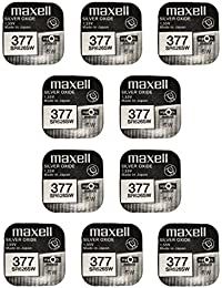 Maxell SR626SW 377 Pack of 10 Silver Oxide Batteries, Free Shipping