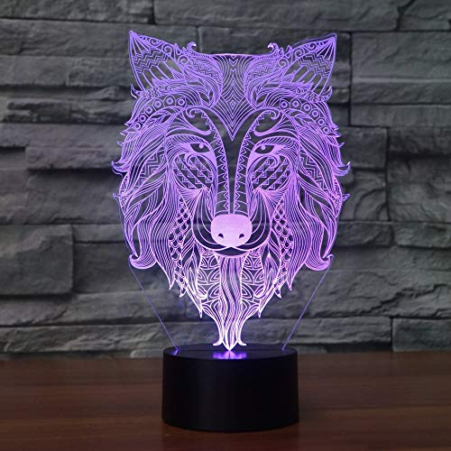 7 Farbwechsel usb 3D führte abstrakten Stammes-Wolf-Kopf-Modellierungs-Schreibtisch-Lampe die Tiernachtlicht beleuchtet