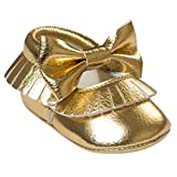 a61862732 HAPPY CHERRY Suaves Zapatos Calzado de Primeros Pasos Zapatitos Mocasines  con Borlas Lazo para Bebés Niños Niñas 3 - 6 Meses 11CM Talla EU 19 Color  Oro ...