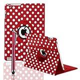 FullDream Lederhülle (für Apple iPad 2, iPad 3, iPad 4, mit Ständer, mit magnetischer Auto Schlaf- und Aufwachmodus, 360 Grad drehbar, mit Punkten, inklusive Bildschirmschutz und Eingabestift), Rot