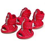 Bild: Semoss Atmungsaktiv AntiRutsch Hunde Schuhe Pfotenschutz Boots für Pfoten und Hunde XXL Rot