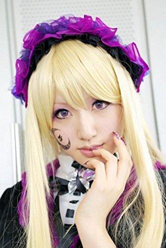 tueme Per¨¹cke lang gerade Blond Halloween Party Haar mit Perueckennetz Chobits Chii (Chobits Chii Kostüm)