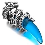 MunkiMix Acciaio Inossidabile Pendente Ciondolo Collana simulata Cristallo Tono Argento Blu Drago Dragon Lupo Denti Uomo,catenina lunga 58 cm inclusa