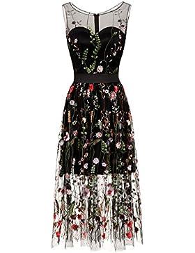 10f68e4941cb Donna Ricami floreali Abiti Lunghi Vestiti Casual Maxi Abito Abiti Formale Vestiti  Abiti Eleganti Lunghi Vestito