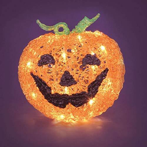 Halloween Kürbis 3D h 22 cm, 48 LEDs warmweiß, Zeitschaltuhr 6/18