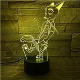 BFMBCHDJ Lámpara de zorro de conejo 3D Panel de acrílico de ilusión óptica increíble Cable USB 7 colores Cambiar lámpara de base táctil 7 colores Regalo de decoración para niños