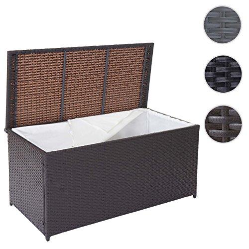 Mendler Poly-Rattan Kissenbox Barry, Truhe Auflagenbox Gartenbox, 290l ~ braun