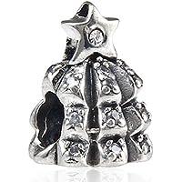 Soulbead Albero di Natale Ciondolo Con Zirconi Pietra Perla in Argento Sterling 925per braccialetto compatibile Marchio europeo