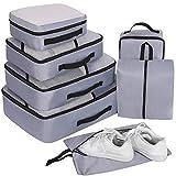 Packing Cubes Set 7-teilig, Faxsthy Packwürfel Kleidertasche Kofferorganizer Packtaschen für Koffer Reisetasche Rucksack Sporttasche Wasserdicht Blue (Grau 2)