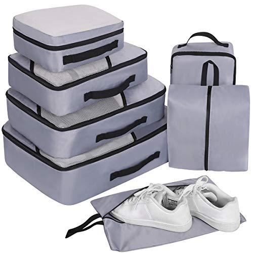 Packing Cubes Set 7-teilig, Faxsthy Packwürfel Kleidertasche Kofferorganizer Packtaschen für Koffer Reisetasche Rucksack Sporttasche Wasserdicht Blue (Grau 2) - 5 Schublade Seitliche Metall