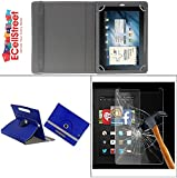 #7: ECellStreet PU LEATHER 360° Rotating Flip Case Cover With Stand For Swipe Ace Strike + Free Tempered Glass toughened Glass Screen Protector - Dark Blue