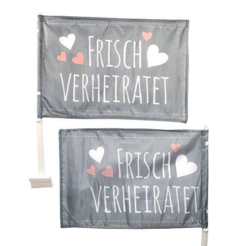 Frau Wundervoll 2 Autoflaggen, Autofahnen Frisch Verheiratet für Fahrer- und Beifahrerseite
