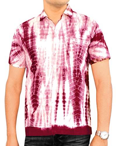 LA LEELA Casual Hawaiana Camisa para Hombre Señores Manga Corta Bolsillo Delantero Surf Palmeras Caballeros Playa Aloha 3XL-(in cms):152-162 Granate_W686