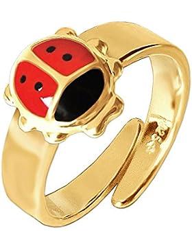 CLEVER SCHMUCK Vergoldeter Kinderring Marienkäfer rot schwarz lackiert glänzend STERLING SILBER 925 gold-plattiert