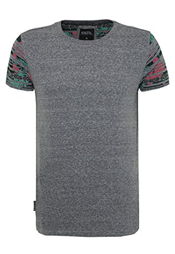 SUBLEVEL Herren T-Shirt mit Ethno Print   Regular Fit Shirt aus leichtem Jersey Material Black