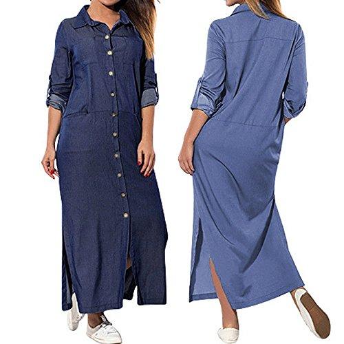 Women's Denim Dresses Blue V Neck Long Sleeve Maxi Split T-Shirt Pockets Dress Plus Size
