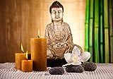 Fototapete Buddha mit Kerze, lebendige Farben M 250 x 175 cm - 5 Teile Vlies Tapete Wandtapete - Moderne Vliestapete - Wandbilder - Design Wanddeko - Wand Dekoration wandmotiv24