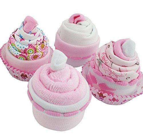 Geschenke Für Babys – Cupcake mit Waschlappen, Babysocken, Kleider und Bandana Lätzchen für Mädchen Neugeboren