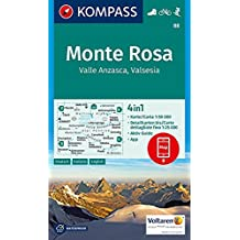 Monte Rosa, Valle Anzasca, Valsesia: 4in1 Wanderkarte 1:50000 mit Aktiv Guide und Detailkarten inklusive Karte zur offline Verwendung in der ... Skitouren. (KOMPASS-Wanderkarten, Band 88)
