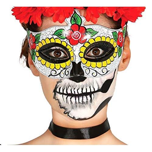 FIESTAS GUIRCA Calaca Media mascarilla Día de los Muertos de la Mujer 8