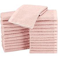 AmazonBasics Lot de 24 petites serviettes en coton 30 x 30 cm Rose poudré
