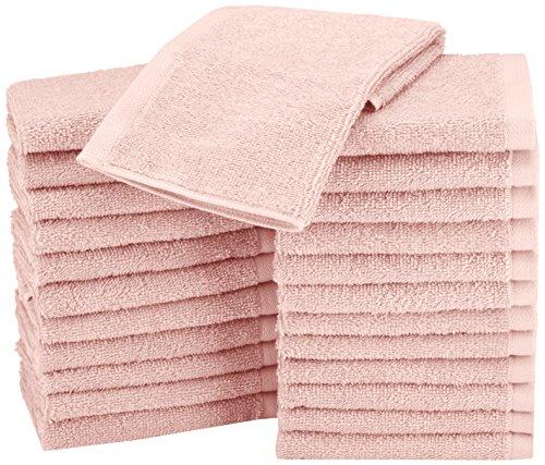 Amazonbasics - asciugamani in cotone, confezione da 24, rosa petalo