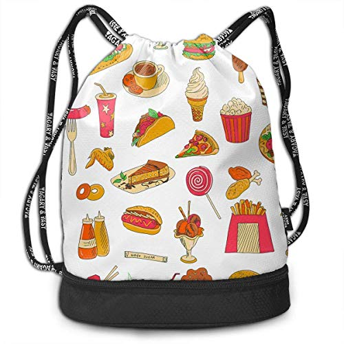 aaaed5a59683 Multifunctional Bundle Backpack - Pizza Hot Dog Doughnut Chips Food 3D  Print Drawstring Backpack - Portable