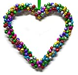 #10: Tangerine Multi color Christmas Bell Heart Ornament - Set of 2 pcs (TAN046)