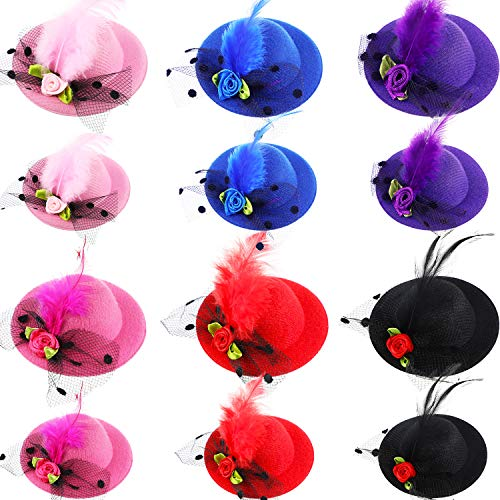 Kostüm Hüte Top - 12 Stücke Hut Haarspange Fascinator Hüte Clip Mini Top Hut mit Mesh Faux Blumen Feder für Mädchen Kostüm Party Zubehör Tragen, 2 Verschiedene Größen