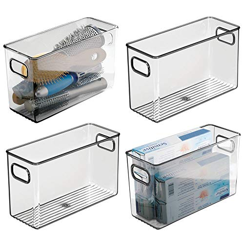 Mdesign set da 4 contenitori per il bagno - organizer in plastica per cosmetici, prodotti bagno e molto altro - pratico cesto per il bagno con manici - grigio