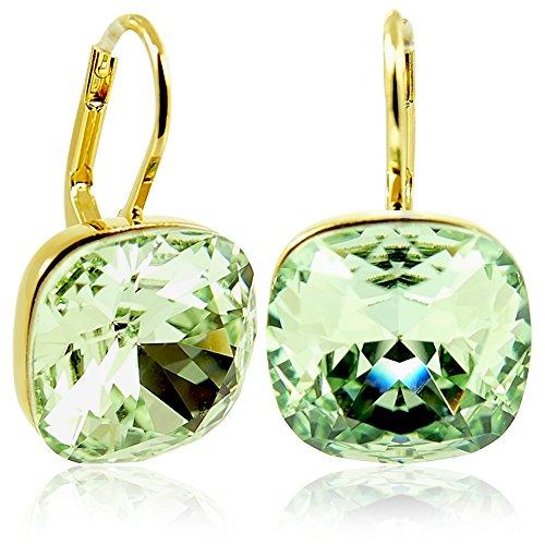 Ohrringe mit Kristallen von Swarovski® Grün Gold NOBEL SCHMUCK Grün Spiegel