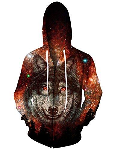 axy Nebula Wolf Gestaltet Hoodie Full Zip Kapuzen - Sweatshirt für Frauen - Mann - Jungen - verursachende Partei Club Wear (Club-wear Für Frauen)