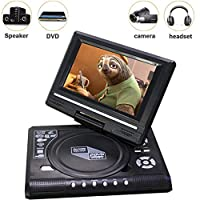 7-Inch Portable DVD Player, 270-Degree Rotating Screen, Long Standby, Power Off, Breakpoint Memory Playback, Free AV Input/Output USB/SD/MMC Playback