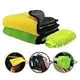 Oladwolf Mikrofasertücher zur Autopflege,2 Stück Mikrofaser Poliertuch + 1 Auto Waschhandschuh,Extrem saugstark und Weicher Auto-Trockentuch zum Auto Lackpflege,Waschen,Putzen und Polieren 45x38cm