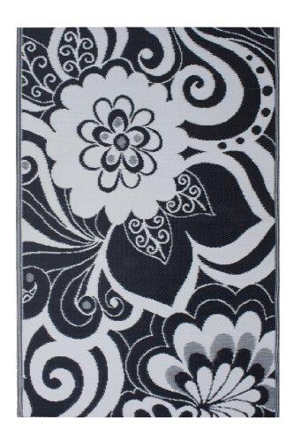 Fab Hab - Maui - Alfombra para Exterior e Interior - Negro y Crema - (